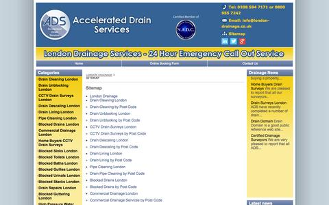 Screenshot of Site Map Page london-drainage.co.uk - London Drainage - captured Oct. 4, 2014