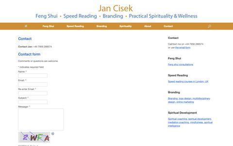 Screenshot of Contact Page jancisek.com - Contact - Jan Cisek - captured Oct. 18, 2018