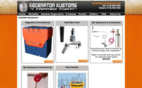 Screenshot of Products Page kegeratorkustoms.com - Kegerator Kustoms - Products - captured Sept. 30, 2014