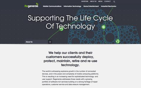 Screenshot of About Page regenersis.com - Regenersis Supporting The Life Cycle Of Technology | Regenersis - About Us - captured Oct. 7, 2014