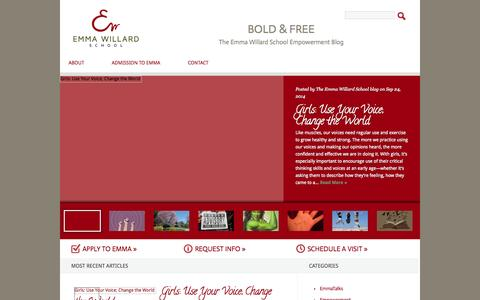 Screenshot of Blog emmawillard.org - Bold & Free   The Emma Willard School Empowerment Blog - captured Oct. 2, 2014