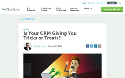 Screenshot of Blog vinsolutions.com - VinSolutions - Is Your CRM Giving You Tricks or Treats? - captured Dec. 3, 2019