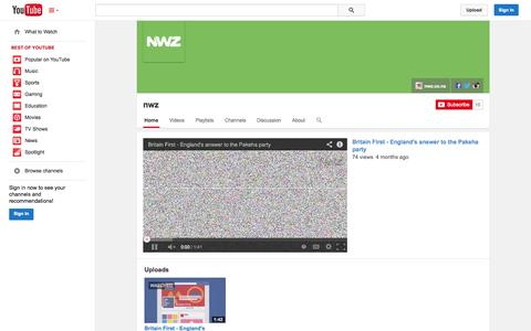 Screenshot of YouTube Page youtube.com - nwz  - YouTube - captured Oct. 26, 2014