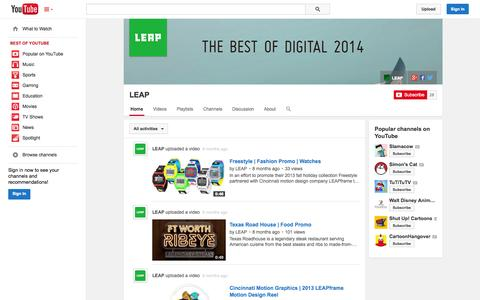 Screenshot of YouTube Page youtube.com - LEAP  - YouTube - captured Oct. 22, 2014