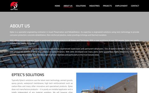 Screenshot of About Page eptec.com.au - Eptec - leaders in Asset Preservation and Rehabilitation - captured Aug. 14, 2017