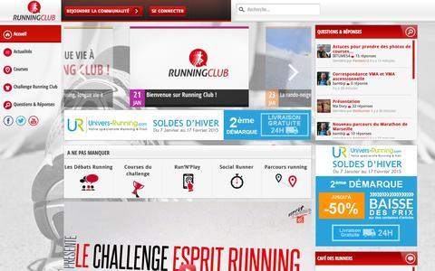 Screenshot of Home Page running-club.fr - Running Club: partagez la passion du running - captured Jan. 23, 2015