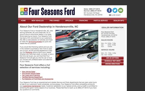 Screenshot of About Page Hours Page fourseasonsford.com - Ford Hendersonville, NC | About Us - captured Oct. 26, 2014