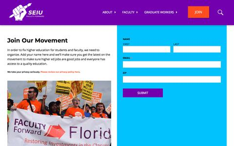 Screenshot of Signup Page seiufacultyforward.org - Join Our Movement - SEIU Faculty Forward - captured Feb. 18, 2018