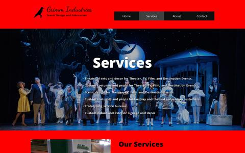 Screenshot of Services Page grimmindustries.net - Services - captured Sept. 30, 2018