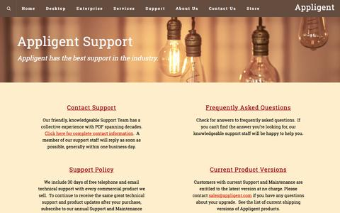 Screenshot of Support Page appligent.com - Support – Appligent - captured July 30, 2018