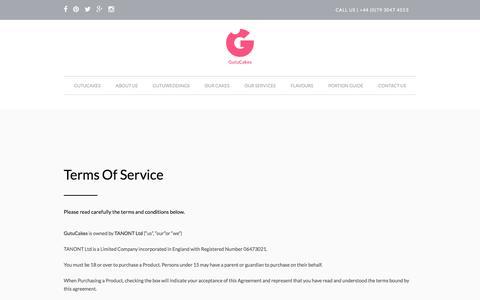 Screenshot of Terms Page gutucakes.com - Terms Of Service - GutuCakes - captured May 25, 2017