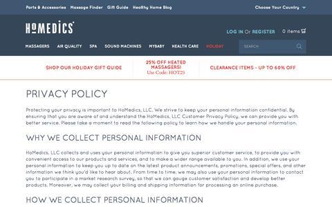 Screenshot of Privacy Page homedics.com - Privacy Policy  | HoMedics USA - captured Dec. 10, 2015