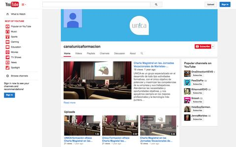 Screenshot of YouTube Page youtube.com - canalunicaformacion  - YouTube - captured Oct. 23, 2014
