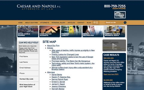 Screenshot of Site Map Page caesarnapoli.com - Site Map | Caesar and Napoli, P.C. | New York - captured Oct. 1, 2014