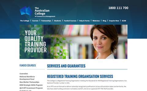 Screenshot of Services Page austcollege.edu.au - Services - captured Nov. 2, 2014