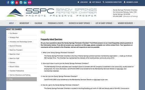 Screenshot of FAQ Page sandyspringsperimeterchamber.com - FAQ - Sandy Springs/Perimeter Chamber of Commerce - captured Oct. 2, 2018