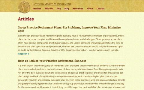 Screenshot of Blog litovskymanagement.com - Medical & Dental Practice Retirement Plans: Blog by Konstantin Litovsky - captured Sept. 29, 2018