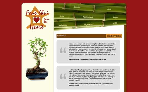 Screenshot of Testimonials Page fengshuifromtheheart.com - Feng Shui From The Heart - captured Sept. 30, 2014