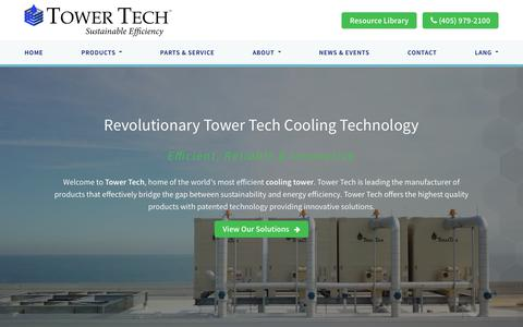 Screenshot of Home Page towertechinc.com - Cooling Tower Manufacturer | (405) 290-7788 | Tower Tech USA - captured Oct. 20, 2018