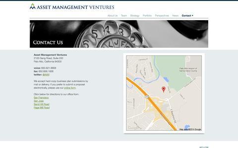 Screenshot of Contact Page assetman.com - Asset Management Ventures ⟩ Contact - captured Oct. 4, 2014