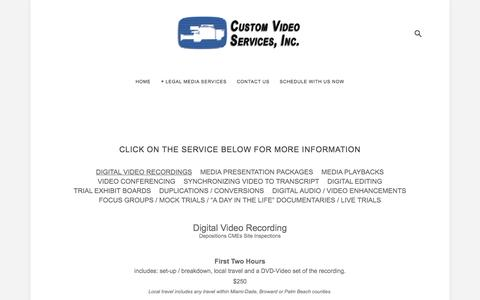Screenshot of Pricing Page legalvideomiami.com - Pricing — Custom Video Services, Inc. - captured Feb. 2, 2016