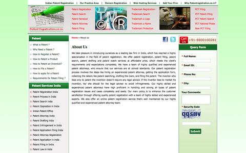 Screenshot of About Page patentregistration.co.in - About Us - captured Sept. 30, 2014