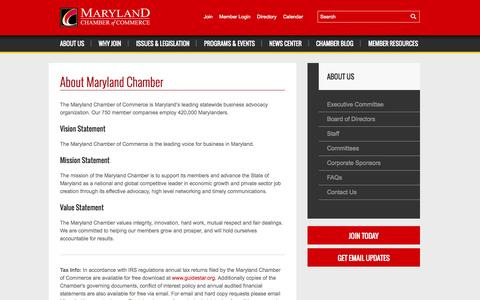 Screenshot of About Page mdchamber.org - About Maryland Chamber | Maryland Chamber of Commerce - captured Oct. 27, 2014