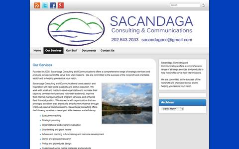 Screenshot of About Page sacandagaconsulting.com - Our Services | Sacandaga Consulting and Communications - captured Oct. 4, 2014