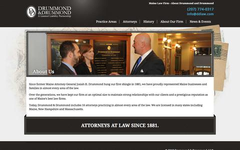 Screenshot of About Page ddlaw.com - About Drummond and Drummond - Maine Law Firm - captured Oct. 13, 2017