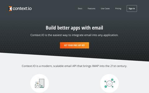 Screenshot of Home Page context.io - Context.IO | The missing email API - captured Aug. 6, 2017