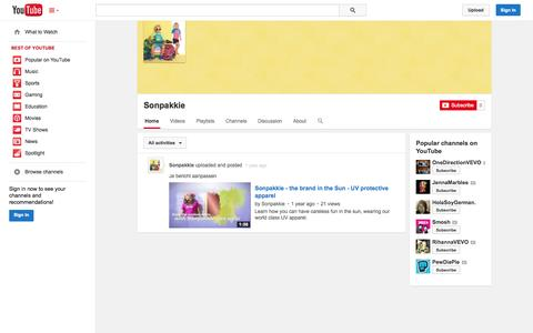 Screenshot of YouTube Page youtube.com - Sonpakkie  - YouTube - captured Oct. 26, 2014