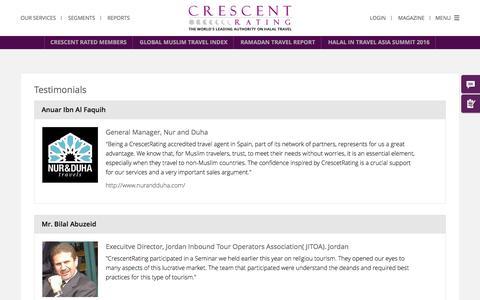 Screenshot of Testimonials Page crescentrating.com - Testimonials - captured July 3, 2016
