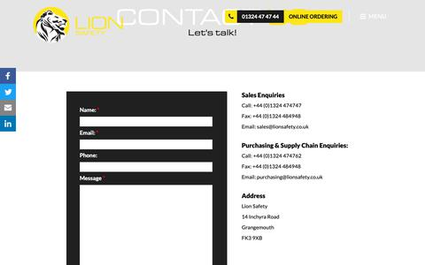 Screenshot of Contact Page lionsafety.co.uk - Contact Us | Lion Safety - captured Dec. 8, 2018