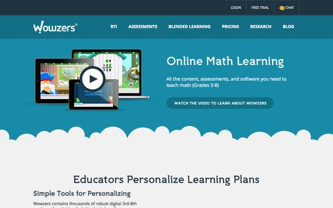 Screenshot of About Page wowzers.com - About Wowzers - Online Math Learning - captured Oct. 7, 2014