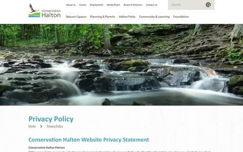 Screenshot of Privacy Page conservationhalton.ca - Privacy Policy — Conservation Halton - captured Oct. 19, 2018