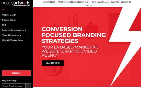 Screenshot of Home Page readyartwork.com - Website Design, SEO, Motion Video & Graphic Design CompanyReady Artwork | Website Design + Marketing from Los Angeles since 2003! - captured June 11, 2018