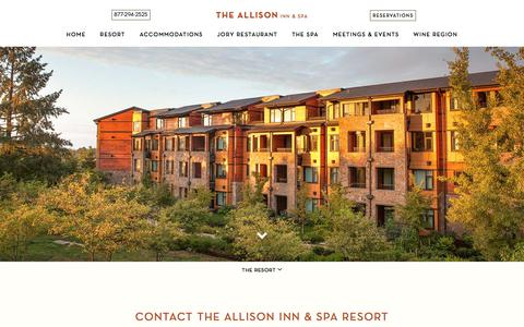 Screenshot of Contact Page theallison.com - Requests, Questions, and Comments   The Allison Inn & Spa - captured Sept. 22, 2018