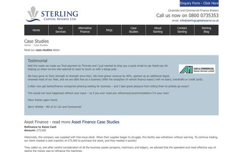 Screenshot of Case Studies Page sterlingcapitalreserve.co.uk - Commercial Finance Case Studies : Sterling Capital Reserve - captured Feb. 24, 2016