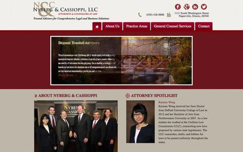 Screenshot of Home Page nycalaw.com - Naperville Law Firm - Nyberg & Cassioppi - Business Law and Estate - captured Oct. 6, 2014