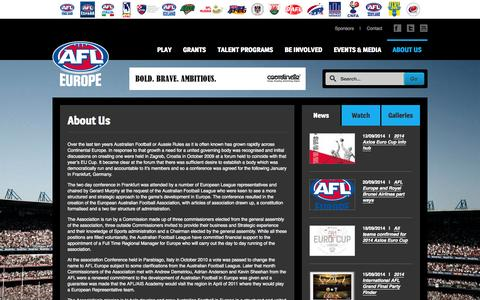 Screenshot of About Page afleurope.org - About Us | AFL Europe - captured Sept. 30, 2014