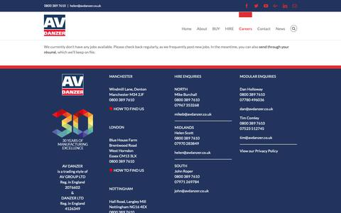 Screenshot of Jobs Page avdanzer.co.uk - Jobs Listing – Portable Modular Buildings | AV Danzer - captured Nov. 6, 2018