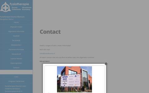 Screenshot of Contact Page fysiodouma.nl - Neem contact op met Fysiotherapie Douma in Hilversum - captured Oct. 1, 2014