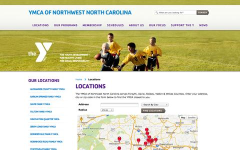Screenshot of Locations Page ymcanwnc.org - Locations «  YMCA of Northwest North Carolina - captured Sept. 25, 2014
