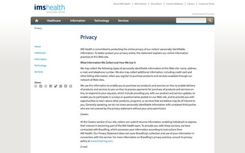 Screenshot of Privacy Page imshealth.com - Privacy - captured Oct. 10, 2014
