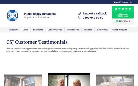 Screenshot of Testimonials Page csj.co.uk - CSJ Customer Testimonials | CSJ - Central Scotland Joinery - captured May 15, 2017