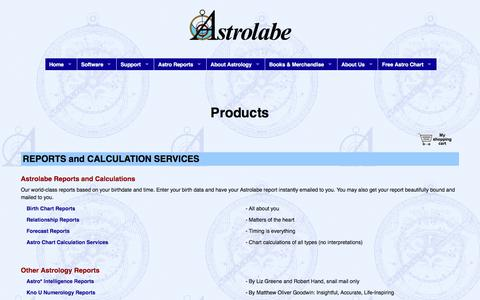 Screenshot of Products Page alabe.com - ASTROLABE: Products - captured June 27, 2017