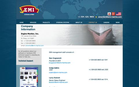 Screenshot of Contact Page emi-marine.com - EMI Marine | CONTACT US - captured Sept. 28, 2018