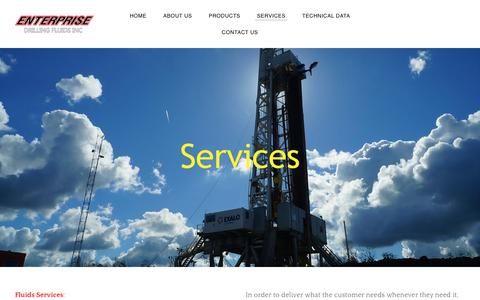 Screenshot of Services Page enterprisedrillingfluids.com - Services | Enterprise Drilling Fluids, Bakersfield, CA - captured July 19, 2018