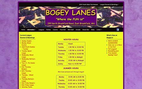 Screenshot of Hours Page bogeylanes.com - Hours - BOGEY LANES - captured June 23, 2016
