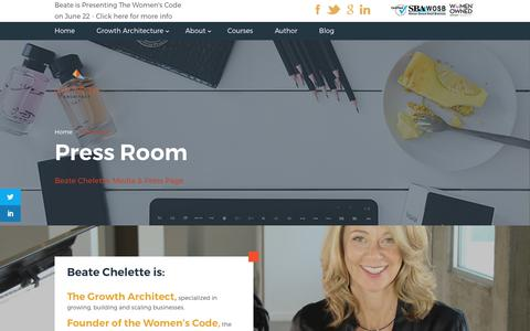 Screenshot of Press Page beatechelette.com - Press Room | Beate Chelette - captured July 28, 2017